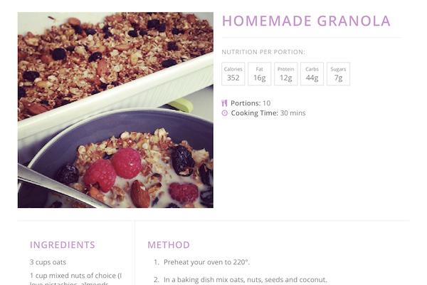 online recipe book homemade granola